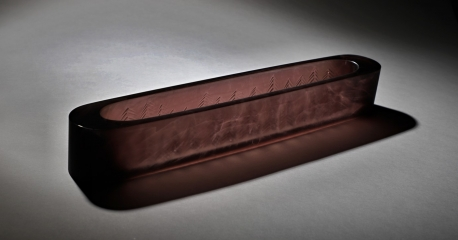 Wood II., 2020, Mold melted glass, 70X12X10cm